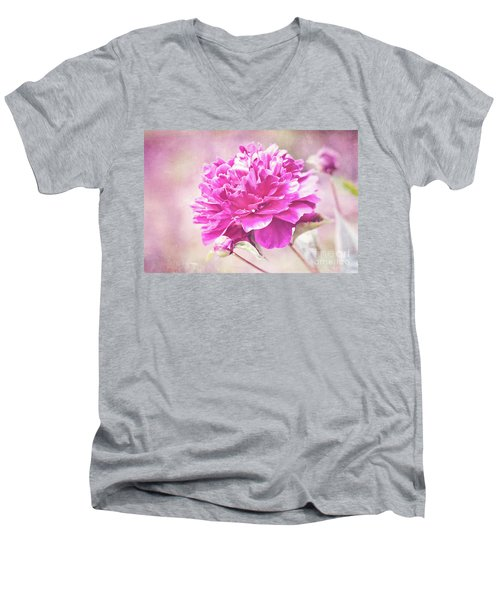 Glorious Pink Peony Men's V-Neck T-Shirt