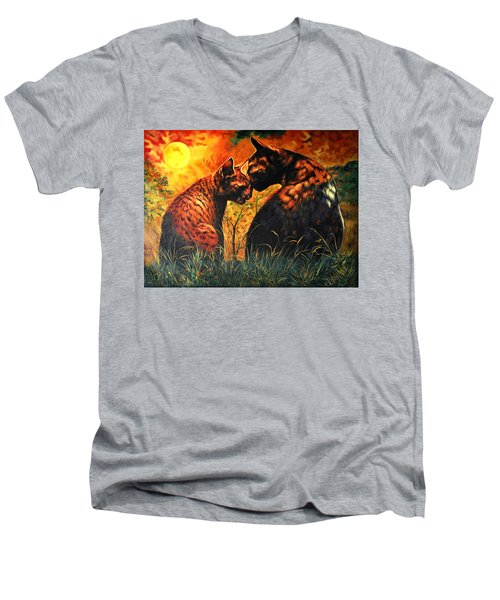 Men's V-Neck T-Shirt featuring the digital art Glory Of Night by Bliss Of Art