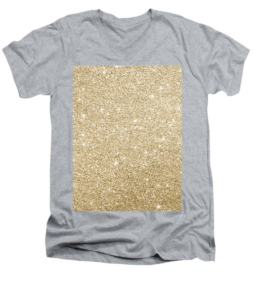 Gold Glitter Men's V-Neck T-Shirt