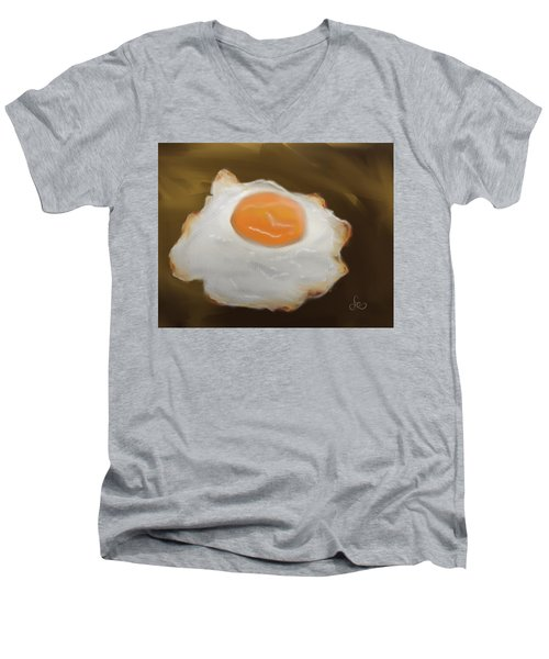 Men's V-Neck T-Shirt featuring the pastel Golden Fried Egg by Fe Jones