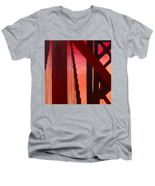 Men's V-Neck T-Shirt featuring the painting Golden Gate Art Deco Masterpiece by Rene Capone