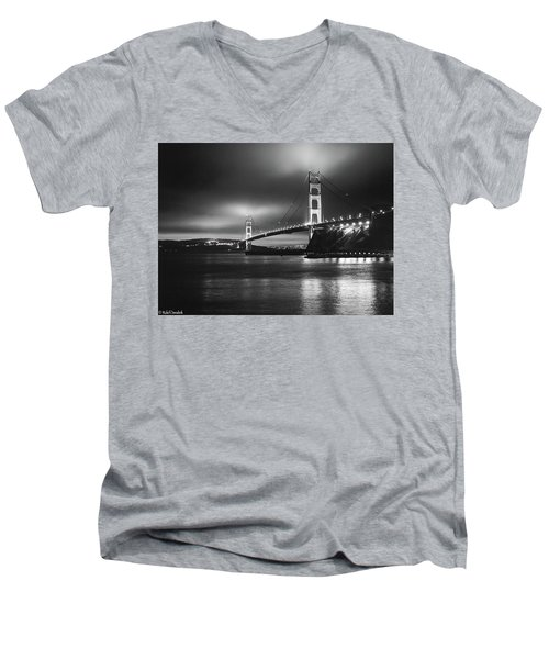 Golden Gate Bridge B/w Men's V-Neck T-Shirt