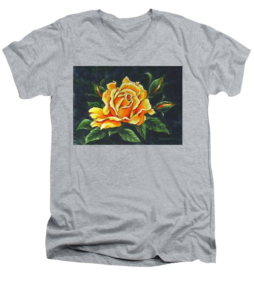 Golden Rose Sketch Men's V-Neck T-Shirt