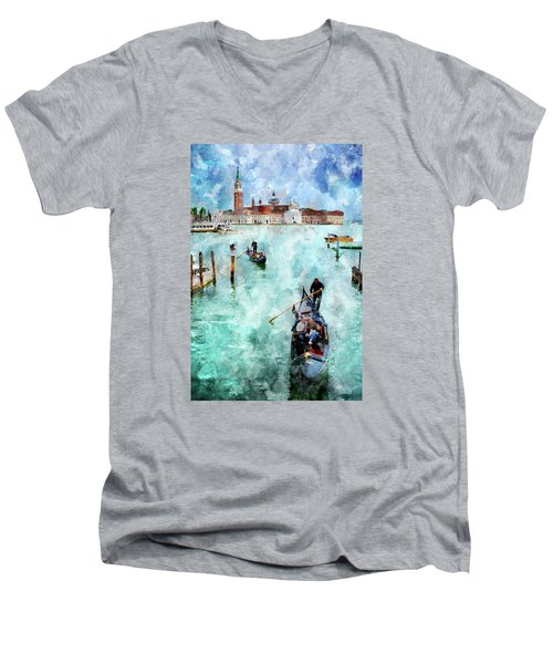 Men's V-Neck T-Shirt featuring the digital art Gondola Rides And San Giorgio Di Maggiore In Venice by Eduardo Jose Accorinti