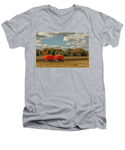 Grain Wagons Loaded With Maize Men's V-Neck T-Shirt