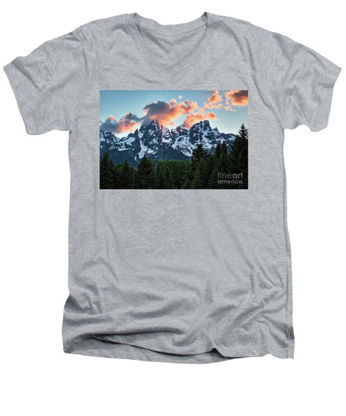 Men's V-Neck T-Shirt featuring the photograph Grand Sunset by Vincent Bonafede