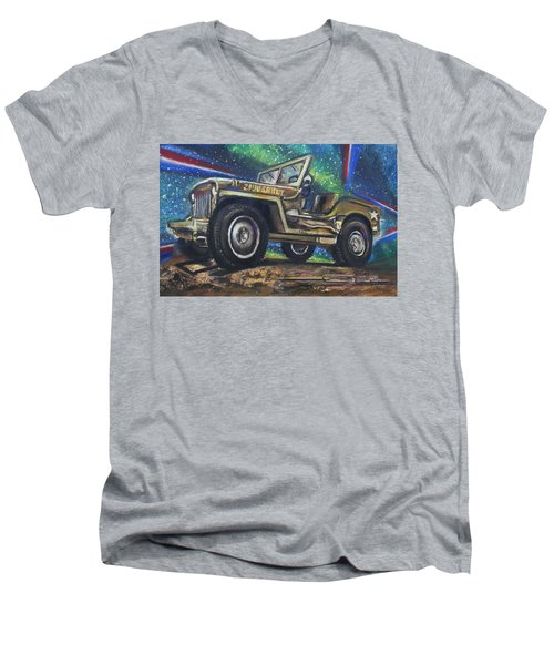 Grandpa Willie's Willys Jeep Men's V-Neck T-Shirt