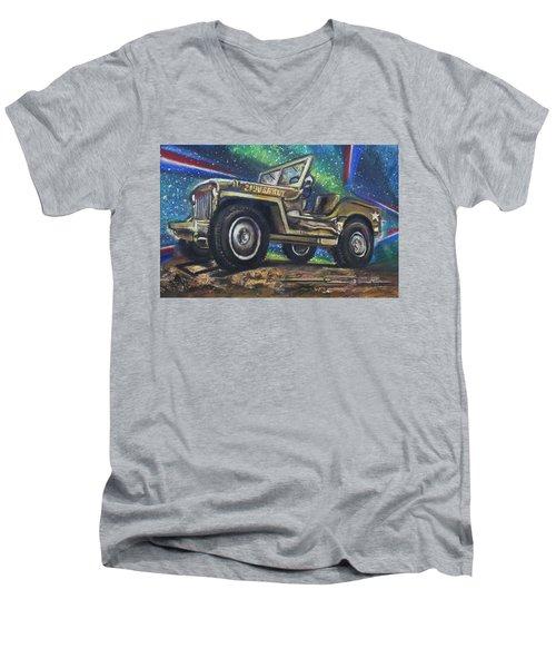 Grandpa Willie's Willys Jeep Men's V-Neck T-Shirt