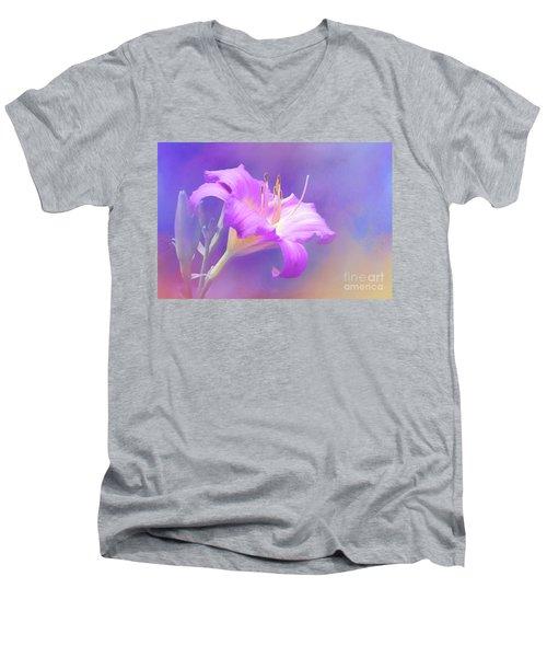 Pretty In Pastel Little Grapette Daylily Men's V-Neck T-Shirt