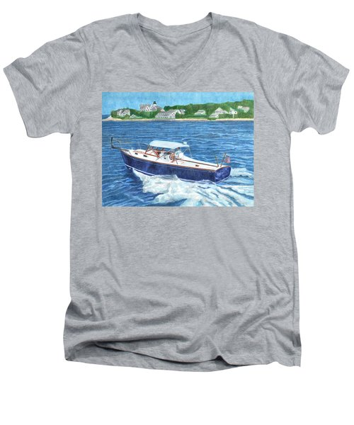 Men's V-Neck T-Shirt featuring the painting Great Ackpectations Nantucket by Dominic White