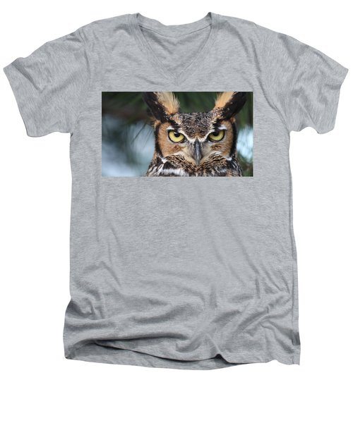 Great Horned Owl Eyes 51518 Men's V-Neck T-Shirt