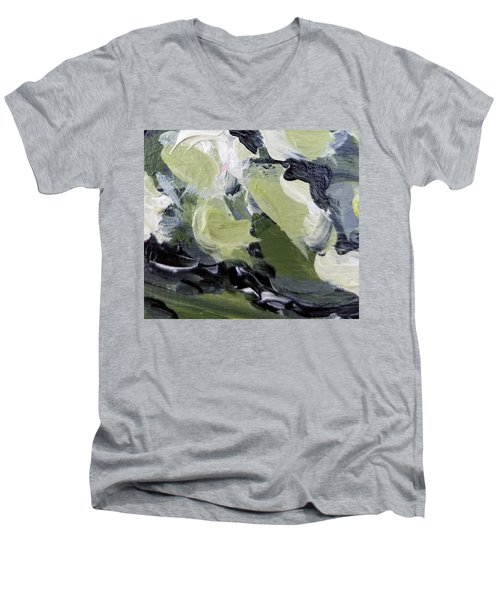 Men's V-Neck T-Shirt featuring the painting Green #1 by Maria Langgle