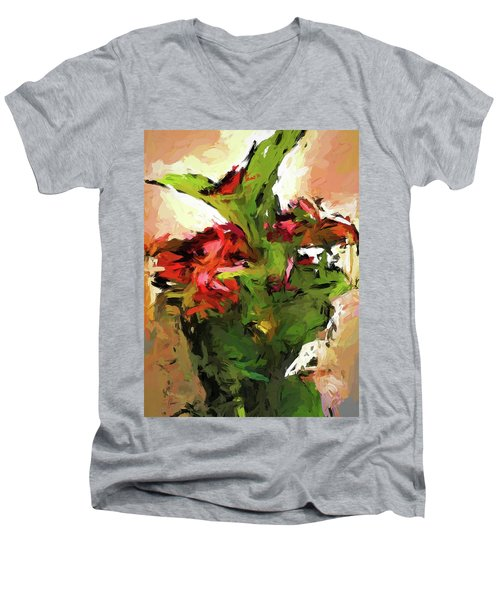 Green Leaves And The Red Flower Men's V-Neck T-Shirt