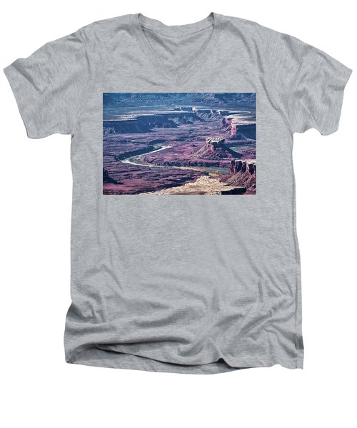 Men's V-Neck T-Shirt featuring the photograph Green River Moonscape by Andy Crawford