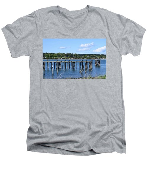 Guemes Island And Old Pier Men's V-Neck T-Shirt