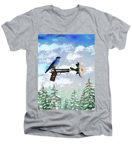 Bluebird Of Happiness- Flower In A Gun Men's V-Neck T-Shirt