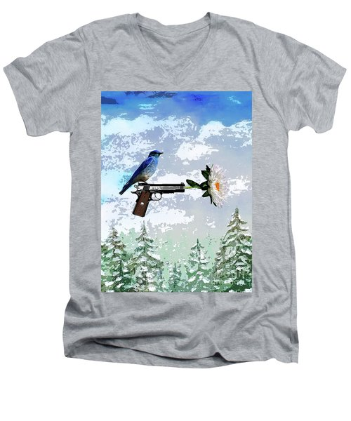 Bluebird Of Happiness- Flower In A Gun Men's V-Neck T-Shirt
