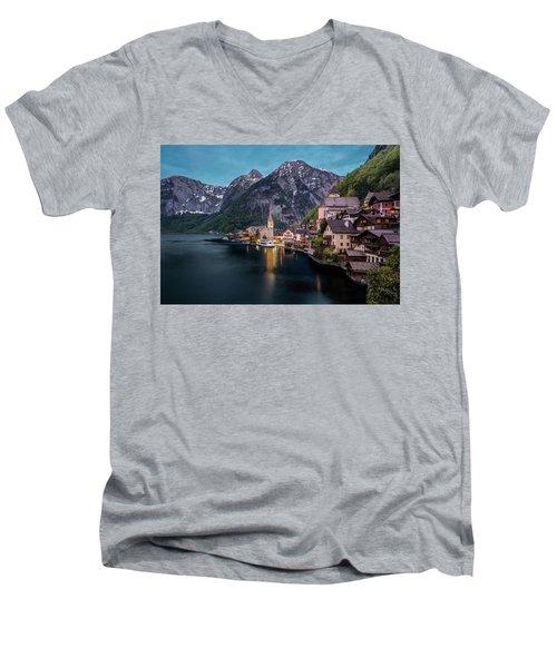 Hallstatt Village At Dusk, Austria Men's V-Neck T-Shirt