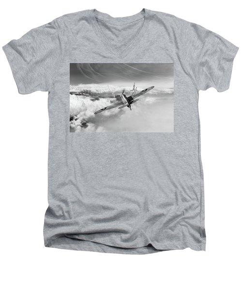 Men's V-Neck T-Shirt featuring the photograph Hawker Hurricane Deflection Shot Bw Version by Gary Eason