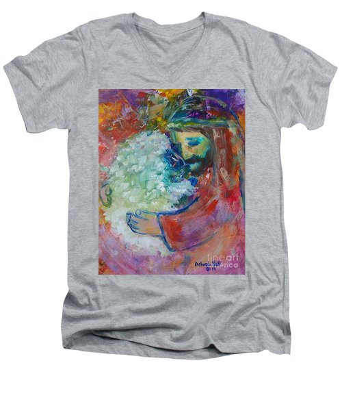 Men's V-Neck T-Shirt featuring the painting He Came After The One by Deborah Nell
