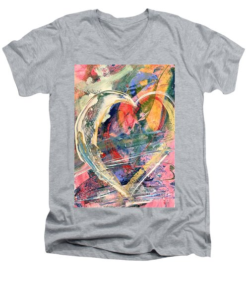 Men's V-Neck T-Shirt featuring the painting Heart Full Of Love by Robin Maria Pedrero