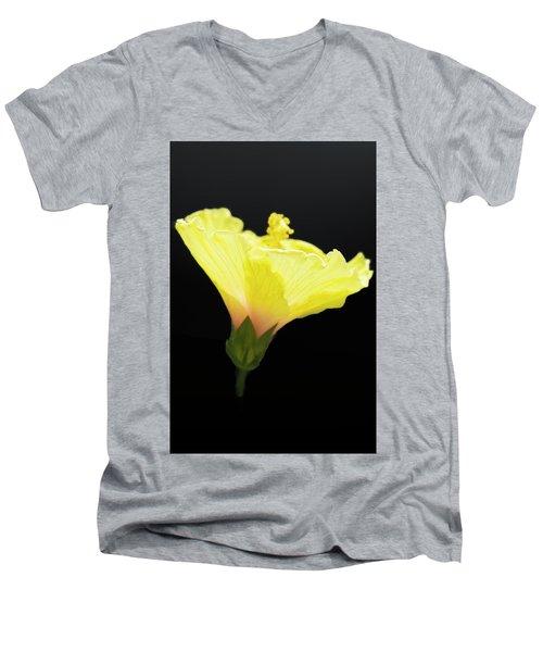 Hibiscus In Black Men's V-Neck T-Shirt