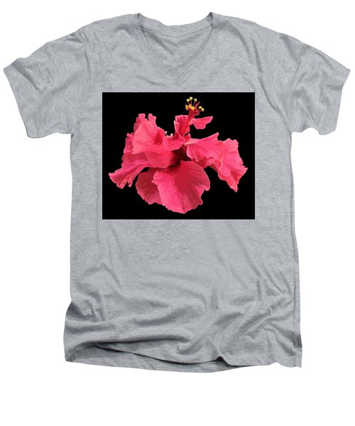 Hibiscus Pink In Black Men's V-Neck T-Shirt
