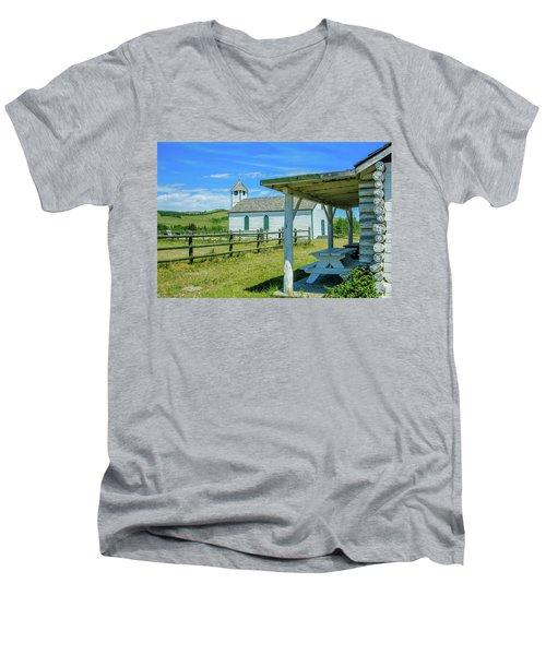 Historic Mcdougall Church, Morley, Alberta, Canada Men's V-Neck T-Shirt