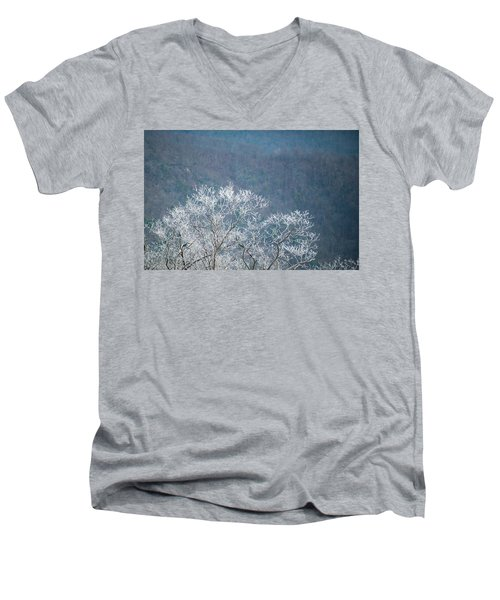 Hoarfrost Collects On Branches Men's V-Neck T-Shirt