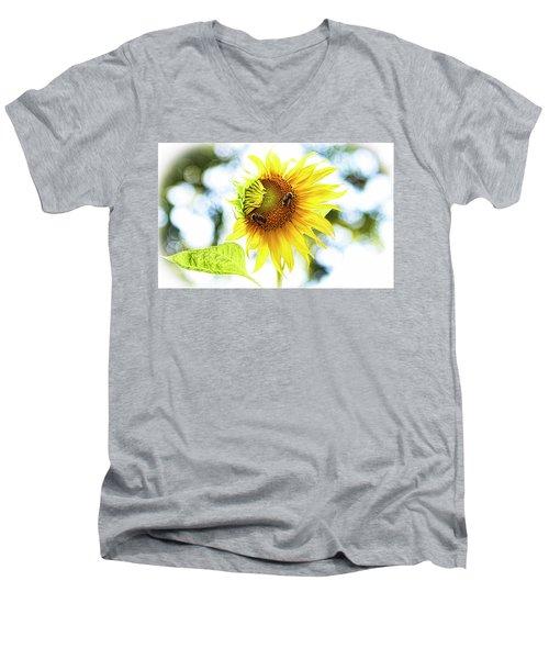 Honey Bees On Sunflower Men's V-Neck T-Shirt