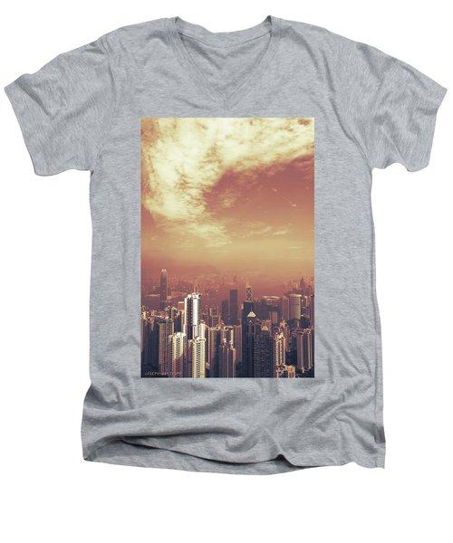 Hong Kong Portrait Men's V-Neck T-Shirt