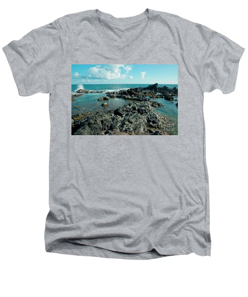Men's V-Neck T-Shirt featuring the photograph Hookipa Song Of The Sea by Sharon Mau