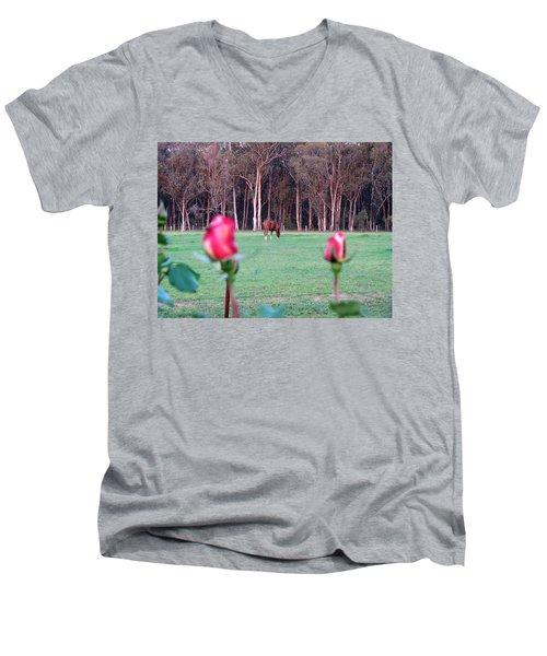 Horse And Roses Men's V-Neck T-Shirt