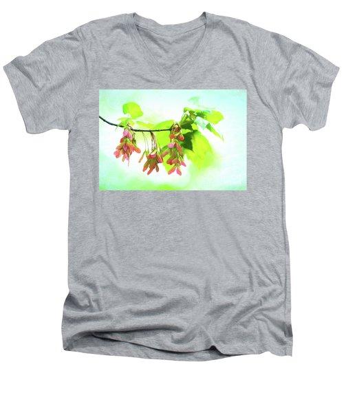 Impressionistic Maple Seeds And Foliage Men's V-Neck T-Shirt
