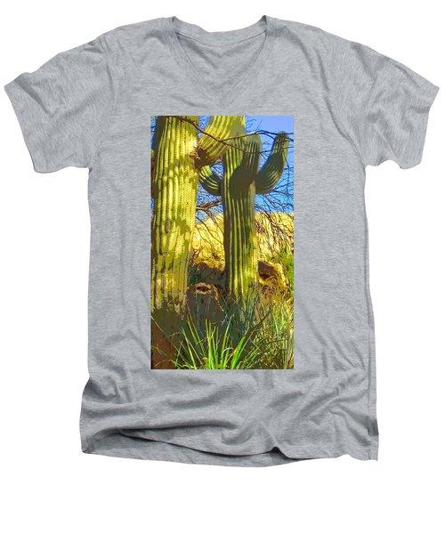 In The Shadow Of Saguaros Men's V-Neck T-Shirt