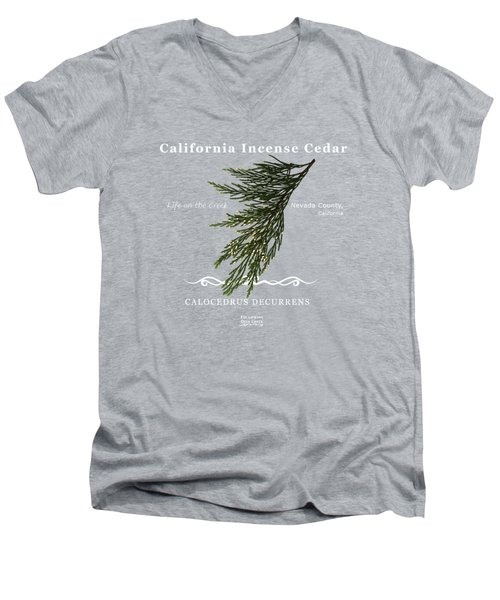 Incense Cedar - White Text Men's V-Neck T-Shirt