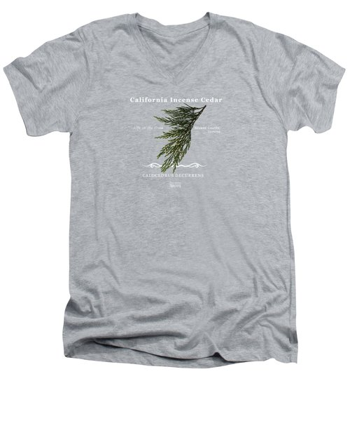 Incense Cedar - White Text Men's V-Neck T-Shirt