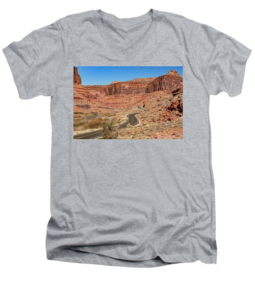 Men's V-Neck T-Shirt featuring the photograph Into The Red Cliffs by Andy Crawford