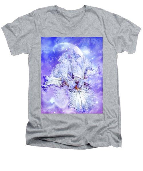 Men's V-Neck T-Shirt featuring the mixed media Iris - Goddess Of Dreams by Carol Cavalaris