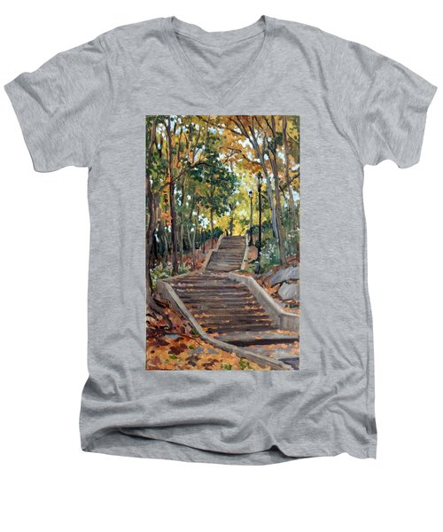 Isham Park Steps New York Autumn Men's V-Neck T-Shirt