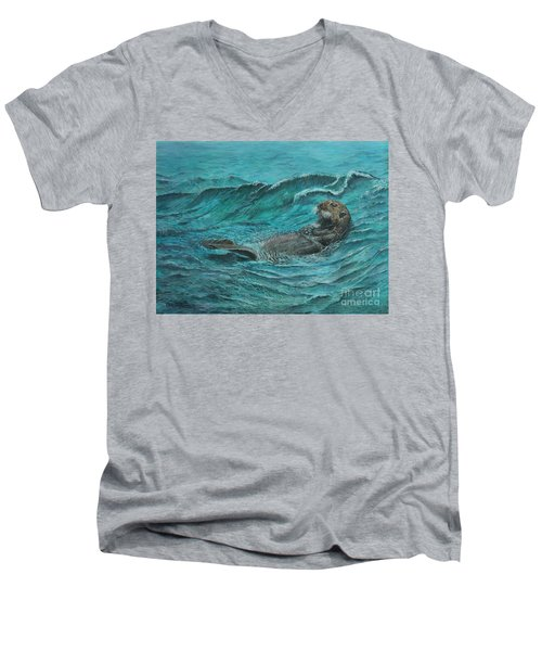 It's My Otter Day Off.....sea Otter Men's V-Neck T-Shirt