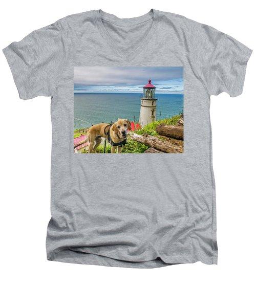 Jackson At Heceta Head Lighthouse Men's V-Neck T-Shirt