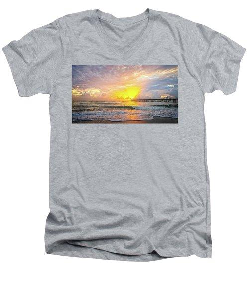 Juno Beach Pier Sunrise 2 Men's V-Neck T-Shirt