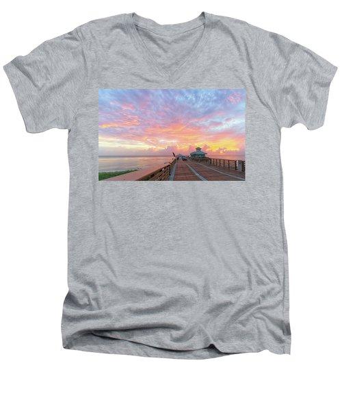 Juno Beach Pier Sunrise Men's V-Neck T-Shirt