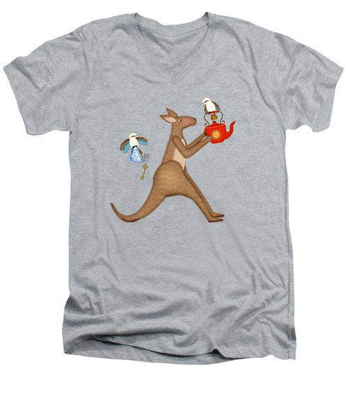 K Is For Kangaroo And Kookaburra Men's V-Neck T-Shirt