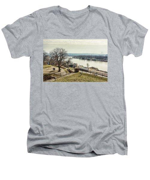 Kalemegdan Park Fortress In Belgrade Men's V-Neck T-Shirt