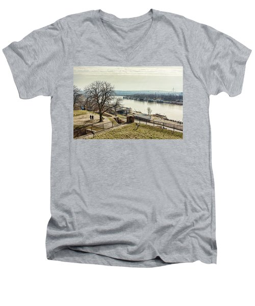 Kalemegdan Park Fortress In Belgrade Men's V-Neck T-Shirt