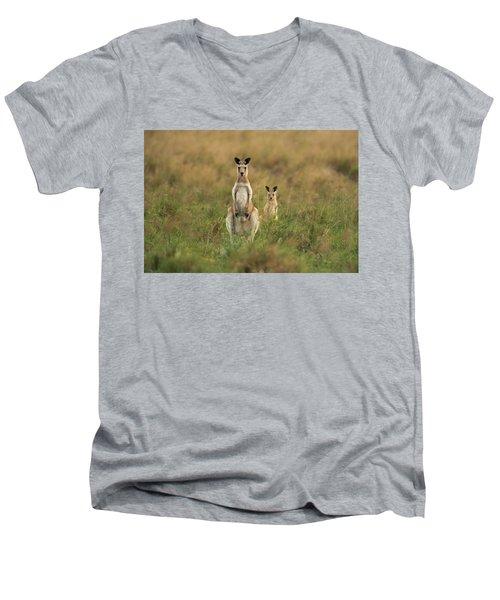 Kangaroos In The Countryside Men's V-Neck T-Shirt