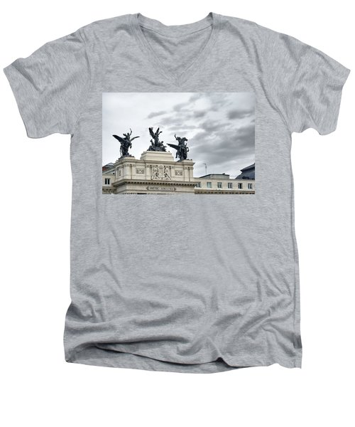 Men's V-Neck T-Shirt featuring the photograph La Gloria Y Los Pegasos Sculptures by Eduardo Jose Accorinti