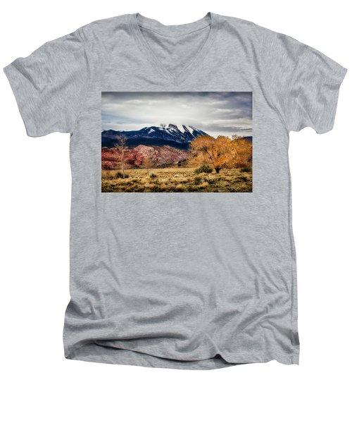 Men's V-Neck T-Shirt featuring the photograph La Sal Mountain Range by David Morefield